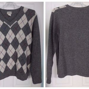 Mens LL Bean Wool Sweater Gray V-neck Argyle Sz. L